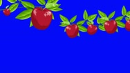 Cartoon Red Apples Growing From Branches on a Blue Screen Background Stock Footage