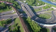 Aerial view of a freeway intersection Stock Footage