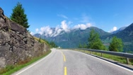 Driving a Car on a Road in Norway Stock Footage