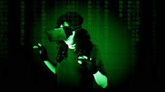 Virtual matrix woman discovery amazed Stock Footage