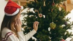 Christmas call of young girl Stock Footage