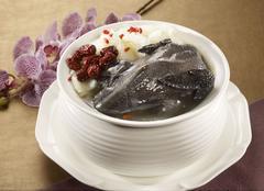 Flower cultivation gouache Phoenix of black chicken soup in white bowl Kuvituskuvat