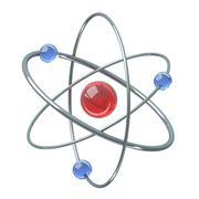 Orbital model of atom - physics 3D illustration Stock Illustration