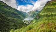 Timelapse, Geiranger fjord, Norway - 4K ULTRA HD, 4096x2304. Stock Footage
