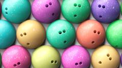 Aerial Close up of Tightly Packed Colorful Bowling Balls Stock Illustration