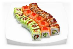 Sushi or kimbap with seafood, rice and vegetables seaweed rolls on white back Stock Photos