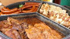 Grilled meat. Food market. Street food. Fast food. Stock Footage