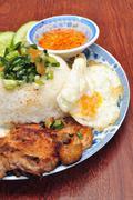 Vietnamese broken rice or Com tam Stock Photos
