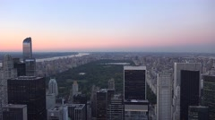 Evening view (4K) of Manhattan, New York, looking north towards Central Park. Stock Footage