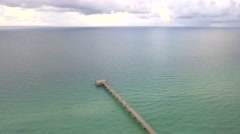 Aerial fishing pier Atlantic Stock Footage