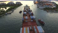 Aerial footage Cargo container ship leaving Port Miami 4k Stock Footage