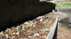 Water irrigation channel polluted Stock Footage