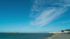 Alcatraz Fort Mason Marina Ocean San Francisco Time Lapse Clouds Moving Stock Footage