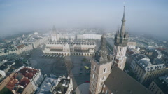 Aerial view of Cracow, Poland Stock Footage