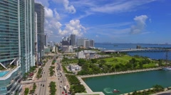 Aerial video Museum Park Downtown Miami Stock Footage