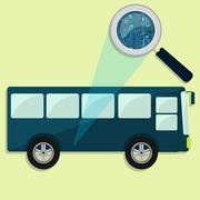 Bus, magnifying glass and electronics Stock Illustration