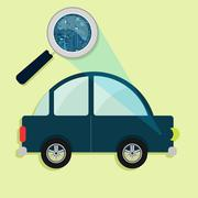 Car, magnifying glass and electronics Stock Illustration