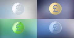 Coin Great Britain Pound 3d Icon Stock Footage
