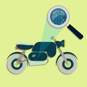 Motorcycle, magnifying glass and electronics Stock Illustration