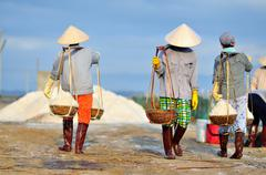 Women workers are collecting salt from the extracting fields to the storage h Stock Photos
