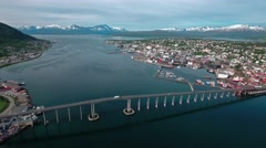 Bridge of city Tromso, Norway Aerial footage Stock Footage