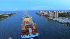 Industrial ship leaving Port Miami aerial video Stock Footage