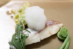 Sweet and sour pickled spring of recommended fresh snapper with herbs Stock Photos
