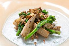 Stir fried flavor of the recommended bamboo shoots and anchovy dried shrimp i Stock Photos