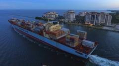 Maersk Line departing Port Miami Stock Footage