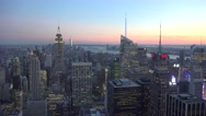 Sunset aerial view (4K) of downtown Manhattan, New York, United States. Stock Footage