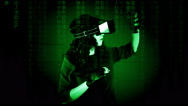 Virtual matrix woman discovery experience Stock Footage