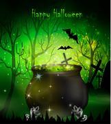 Halloween witches cauldron Stock Illustration
