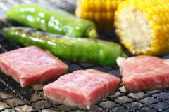Grilling cubed pork meat with green chili and corn on hot charcoal Stock Photos