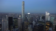 Aerial view (4K) of Manhattan, New York, looking north east from Midtown. Stock Footage