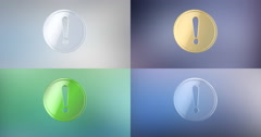 Exclamation Badge 3d Icon Stock Footage