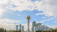 Astana, Baiterek on a background of clouds. Fixed perspective. Kazakstan. Time Stock Footage