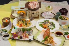 Summer of banquet Kaiseki, squid Okurasoba, sweet shrimp, mackerel, Suzuki am Stock Photos