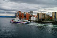 Stavanger, Norway -September 18, 2011: Cityscape of Stavanger down town with Stock Photos