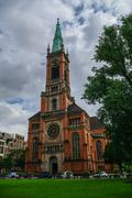 Protestant Church Saint Johans (Johanneskirche)  in the square of Martin Luth Stock Photos