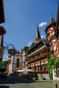 Bacharach, Germany - July 9, 2011: Medieval village Bacharach. Traditional fr Stock Photos