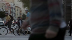 Valencia Street Bicycle Commuters Stock Footage