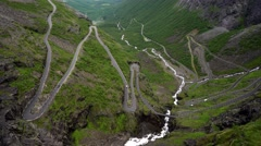 Troll's Path Trollstigen or Trollstigveien winding mountain road. Stock Footage