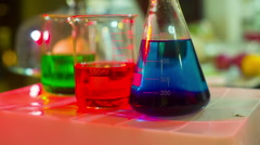 Chemistry flask bottles bottle chemical Stock Footage