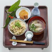 Table meal of fried rice with meat ball soup in Japanese style Stock Photos