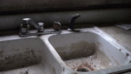 Old faucet sink abandoned house home DIRTY  Stock Footage