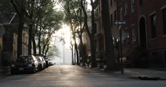 Brooklyn neighborhood at sunset - wide angle - 4k Stock Footage