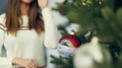 Twisting the Christmas ball Stock Footage