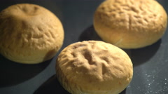 Baking the buns in a furnace. Time lapse. Stock Footage