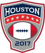 Houston 2017 American Football Big Game Crest Retro Stock Illustration