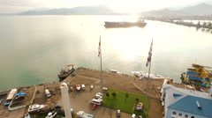 Aerial view of Batumi port with cargo ship at anchor Stock Footage